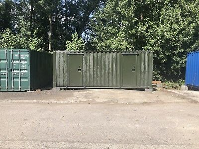 20ft X 9ft Shipping Storage Container 2 Rooms, 3 Doors Shed Store Room Windows