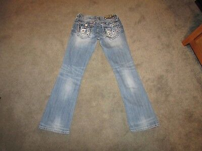 Miss Me Denim Jeans Girls Size 27 Dazzled Pockets Buckle Distressed Boot JE