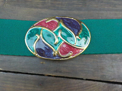 Womens wide elastic stretch belt  70s Retro Green with Gold Buckle