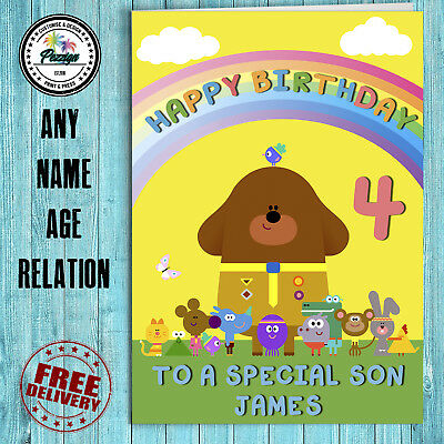 HEY DUGGEE PERSONALISED Greeting Birthday Card Boy Son Girl Daughter Duggie
