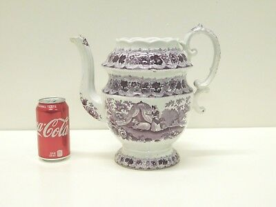 ANTIQUE 1820s 30s Purple Adams PET Transferware Staffordshire Coffeepot