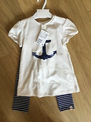 BNWT H&M Baby Girl Nautical Summer Outfit Top & Stripe Leggings New 18-24 Month