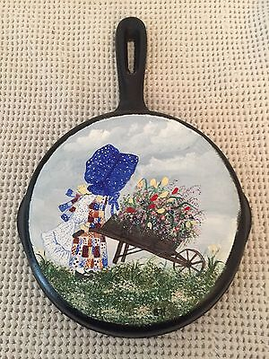 Vintage Hand Painted Cast Iron Pan Signed Barbara Haines Wall Hanger Girl Wagon