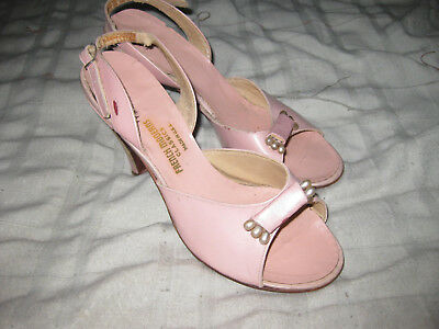 Vintage 1950S Sling Back Pink Shoes-French Moderns Classics-Size 7-Made In Usa