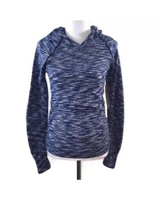 Maternity Blue Space Dye Women's Lightweight Pullover Hoodie Size Small NWT