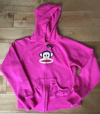 Paul Frank Pink Hoodie Full Zip Jacket Sweatshirt Girls Youth Large
