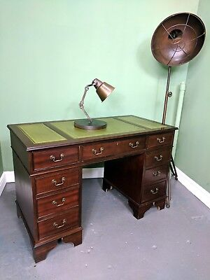 An Antique Style Mahogany Green Leather Desk ~Delivery Available~