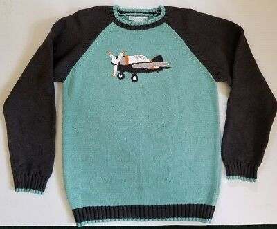 JANIE AND JACK Boy's 10 JJ Trans AIRPLANE PULLOVER SWEATER Cotton Long Sleeves