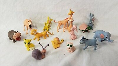 Lot of 15 Small Vintage Plastic Animals Made in Hong Kong Cheerful Whimsical