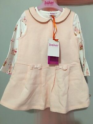 New Baby Girls Designer Ted Baker Pink Dress & Bunny Top 2 Piece Outfit 12-18m
