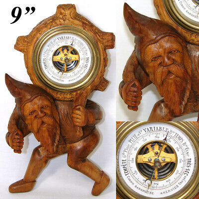 "Antique Black Forest Carved 9.25"" Gnome Figure is an Aneroid Wall Barometer"