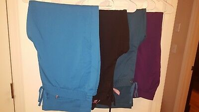 LOT of 4 Healing Hands Purple Label Scrub Pants, Size Petite XL - Barely Used