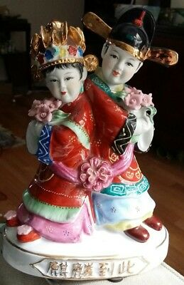 Vintage ceramic LARGE ASIAN FIGURINE OF MAN AND WOMAN