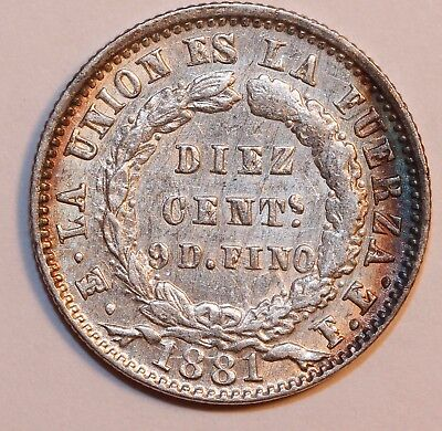BOLIVIA 20 CENTS 1881 Diez Cents .    Nice coin with a little color.      #H-16
