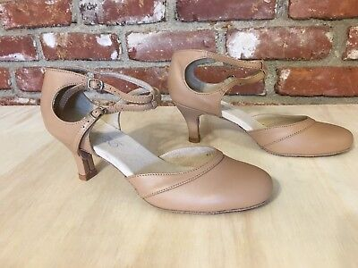DiMichi Latin Flamenco Dance Shoes Low Heel Suede Close Toe Nude Leather 9