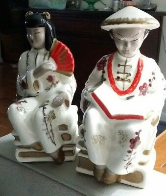 Vintage ceramic 2 LARGE ASIAN FIGURINES OF MAN FIGURINES, MADE IN JAPAN BY NANCO