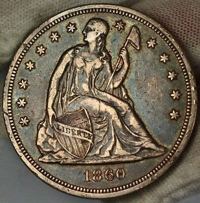 1860 O Seated Liberty Dollar $1 Silver Coin Original Patina Toned Blue