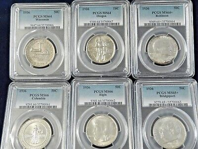 (6) Early Silver Commemorative Halves - PCGS MS66 to MS64 - Nice Lot - No Reserv