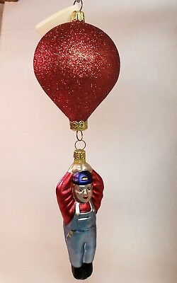 PATRICIA BREEN,  Red Glitter Balloon Man Double Ornament Up and Away
