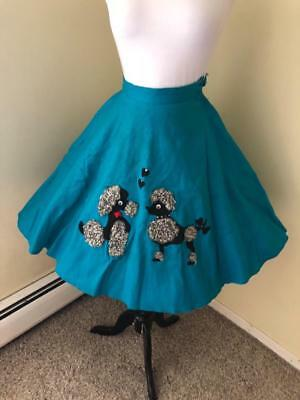 Vintage 1950's Poodle in love Skirt Curly Lamb Fur Applique Turquoise S AS IS