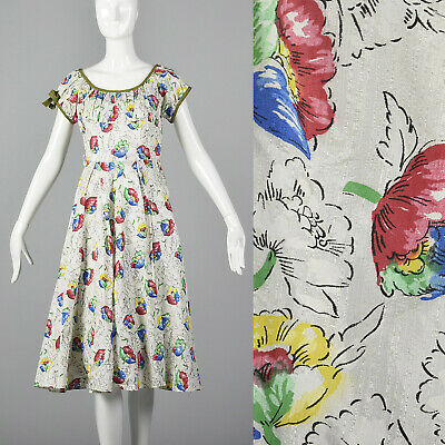 S 1950s White Summer Day Dress Colorful Floral Print Short Sleeves Casual 50s