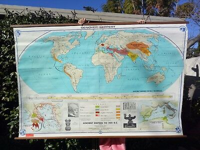 Very large vintage/industrial pull-down school world map; Empires to 200BC