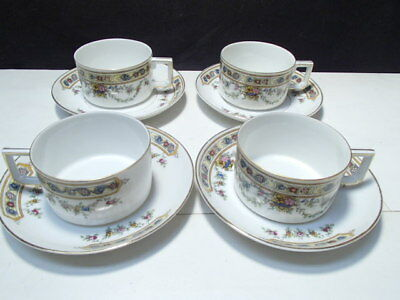 4 Vintage Heinrich China Cups & Saucers  ~~ Gorgeous ~ unknown pattern