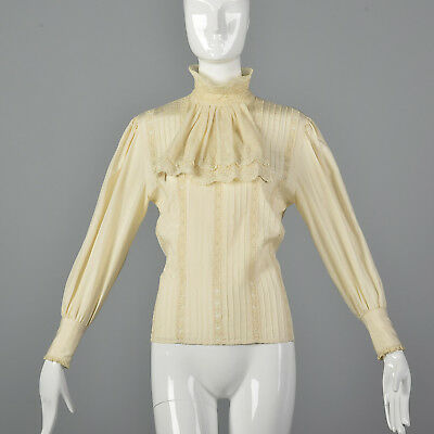 M 1970s Victorian Revival Style Blouse Silk Long Sleeves Separates Lace Trim 70s