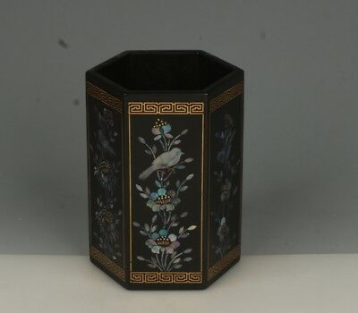 Chinese Exquisite Handmade flower bird mother-of-pearl lacquerware Brush Pot
