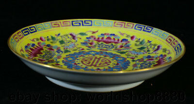 """8"""" Marked Old Chinese Famille Rose Porcelain Peach Flower Bat Plate Tray Dish"""