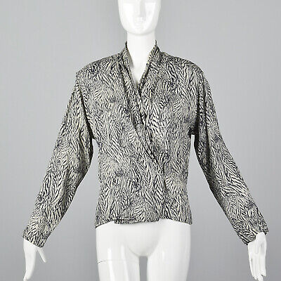c117ea22d M 1980s Anne Klein Silk Blouse Long Sleeves Separates Work Wear Navy White  80s
