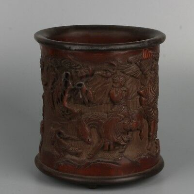 Chinese Exquisite hand-carved mythology figure bamboo Brush Pot