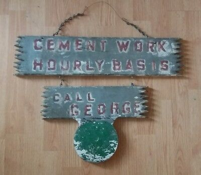 antique wooden cement work advertising sign