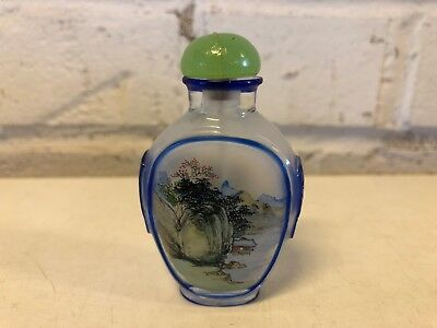 Vintage Chinese Reverse Painted Glass Snuff Bottle w/ Blue Ocean Scene Dec.