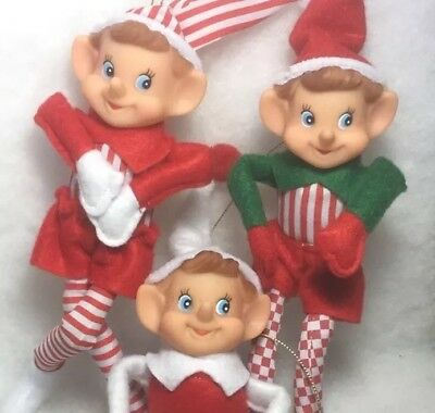 Felt Elf Figure Knee Hugger Christmas tree Ornaments