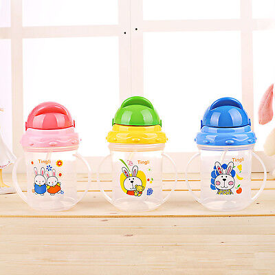 Infant Toddler Drinking Bottle Sippy Cups With Handles Baby Kids Straw Cup Mug