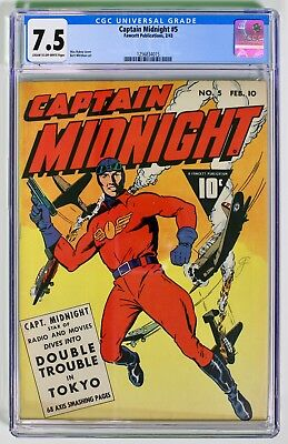Captain Midnight #5 (Feb 1943, Fawcett)  CGC 7.5!