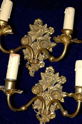 Pair Of Pretty  Antique French Ormolu Brass Sconces Flower Bouquets