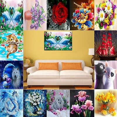 DIY 5D Diamond Painting Flower Peacock Embroidery Cross Stitch Home Decor Crafts