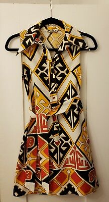 Vintage 70's Lanvin Psychadelic Wide Collar Belted Shift Dress AMAZING 1970s