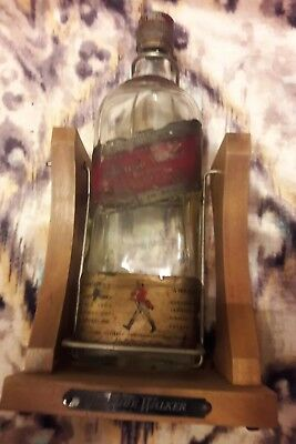 JOHNNIE WALKER RED Label Vintage 1/2 Gallon Bottle Cradle Stand Vintage Display