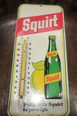 Large Vintage Squirt Soda Thermometer, Antique