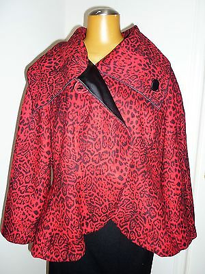 NWT Artex Fashions, large collar, flare red and black jacket / coat sz 1X 20W