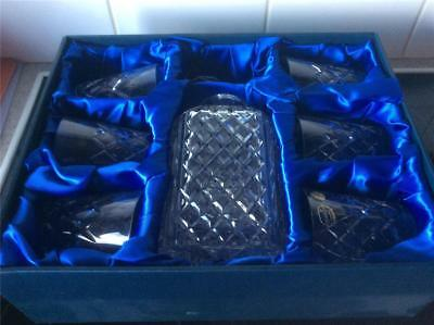 BRAND NEW BOX  Bohemia Hand Cut Lead Crystal Whiskey Set Decanter and glasses