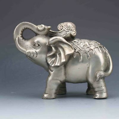 Collectible Chinese Silver Copper Handmade Carved Elephant Statue
