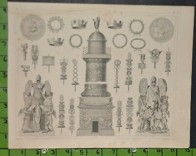 Antique Ancient Architecture 1849 Bilder Atlas Engraving -  12x9