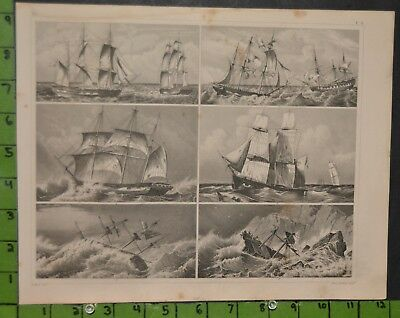 Antique Maritime Ships 1849 Bilder Atlas Engraving -  12x9