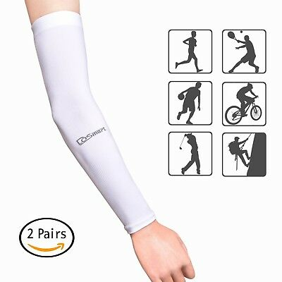 DoSmart Black Silk UV-Protection Unisex Cooling Arm Sleeves For Outdoor Sports