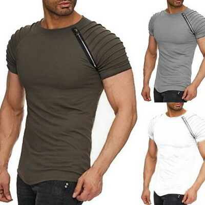 c3f2291978 Fashion Men's Tops Summer Short-sleeved T-shirt Solid Slim Fold Zipper O-