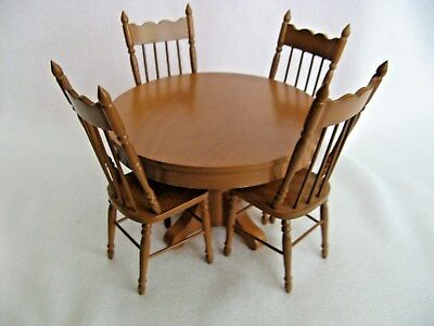 Dollhouse MIniature 1970's Round Table & 4 Chairs